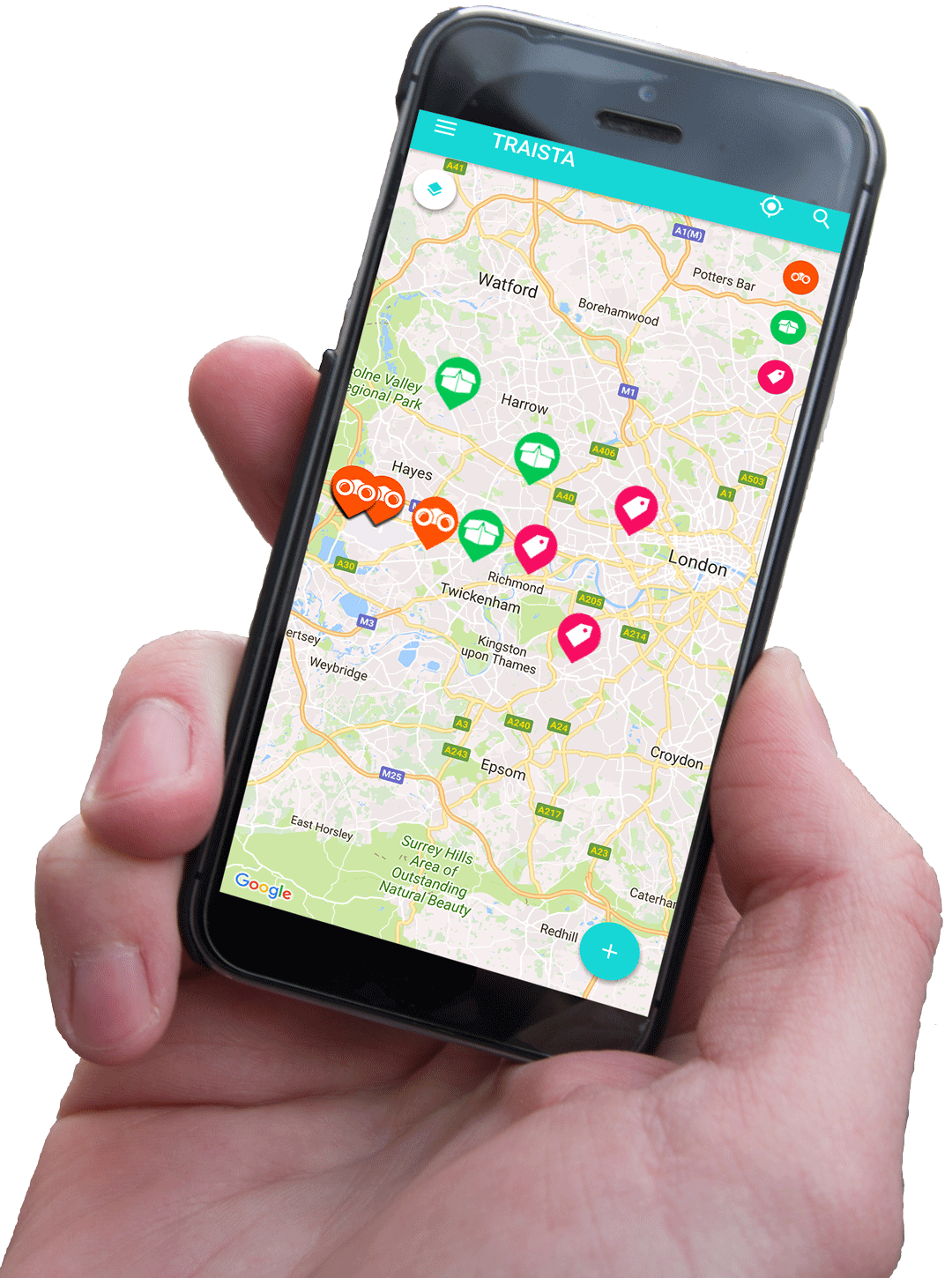 Traista app in your hand virtual map