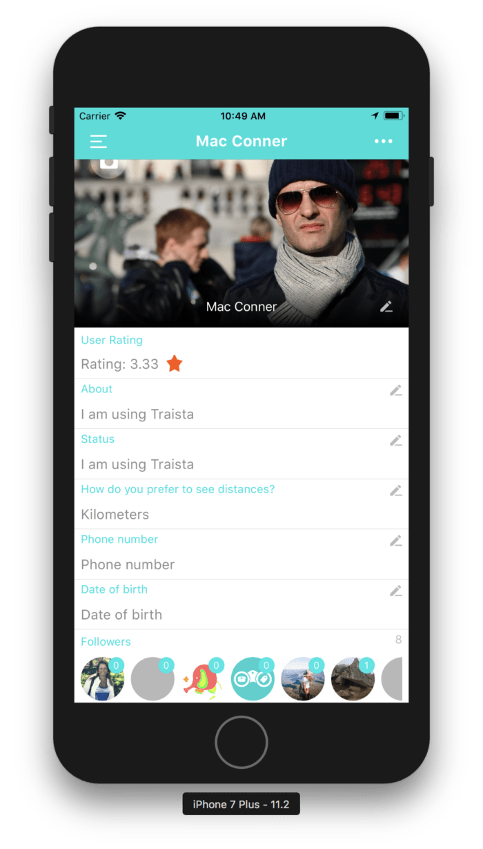 Profile view Traista app