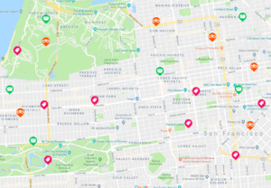Traista app San Francisco map